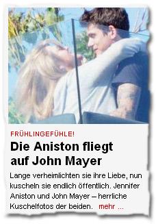 """"""" Frühlingsgefühle! Jennifer Aniston fliegt auf John Mayer -- Lange verheimlichten sie ihre Liebe, nun kuscheln sie endlich öffentlich. Jennifer Aniston und John Mayer – herrliche Kuschelfotos der beiden."""""""