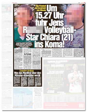 Ausriss Bild-Zeitung - Das Protokoll der Amok-Fahrt von Münster - Um 15.27 Uhr fuhr Jens Nachname Volleyball-Star Chiara ins Koma