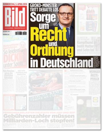 Ausriss der Bild-Titelseite - Groko-Minister tritt Debatte los - Sorge um Recht und Ordnung in Deutschland