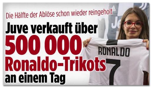 Screenshot Bild.de - Die Hälfte der Ablöse schon wieder reingeholt - Juve verkauft über 500.000 Ronaldo-Trikots an einem Tag