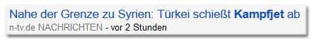 Schlagzeile von n-tv.de: 'Nahe der Grenze zu Syrien: Türkei schießt Kampfjet ab'