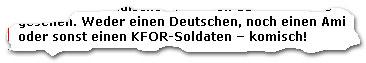 """""""Weder einen Deutschen, noch einen Ami oder sonst einen KFOR-Soldaten -- komisch!"""""""