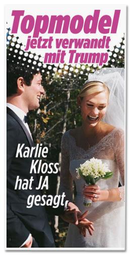 Screenshot eines Teaser-Bildes, das auf der Bild.de-Startseite erschienen ist - Topmodel jetzt verwandt mit Trump - Karlie Kloss hat Ja gesagt