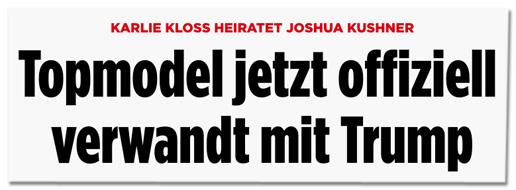 Screenshot einer Bild.de-Überschrift - Karlie Kloss heiratet Joshua Kushner - Topmodel jetzt offiziell verwandt mit Trump