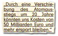 """""""Durch eine Verschiebung des Atomausstiegs um 20 Jahre könnten uns Kosten von 50 Milliarden Euro und mehr erspart bleiben."""""""