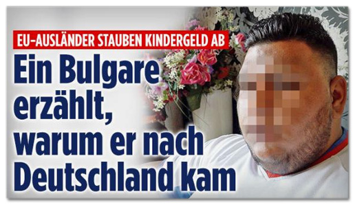 Screenshot Bild.de - EU-Ausländer stauben Kindergeld ab - Ein Bulgare erzählt, warum er nach Deutschland kam