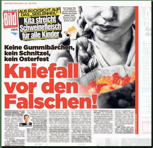Ausriss Bild-Zeitung - Keine Gummibärchen, kein Schnitzel, kein Osterfest - Kniefall vor den Falschen!