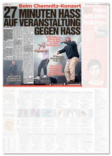 Ausriss Bild-Zeitung - Beim Chemnitz-Konzert - 27 Minuten Hass auf Veranstaltung gegen Hass - gemeint ist der Auftritt von KIZ