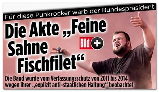 Screenshot Bild.de - Für diese Punkrocker warb der Bundespräsident - Die Akte Feine Sahne Fischfilet
