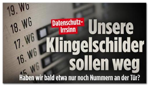 Screenshot Bild.de - Datenschutz-Irrsinn - Unsere Klingel-Schilder sollen weg - Haben wir bald etwa nur noch Nummer an der Tür?