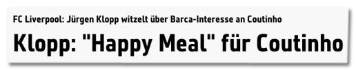 Screenshot von sport1.de - FC Liverpool Jürgen Klopp witzelt über Barca-Interesse an Coutinho - Klopp Happy Meal für Coutinho