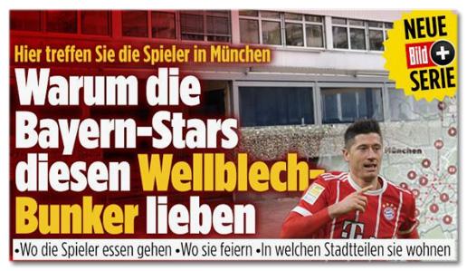 Screenshot Bild.de - Hier treffen Sie die Spieler in München - Warum die Bayern-Stars diesen Wellblechbunker lieben - Wo die Spieler essen gehen, wo sie feiern, in welchen Stadtteilen sie wohnen