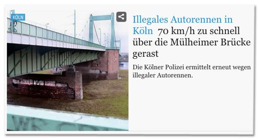 Screenshot rundschau-online.de - Illegales Autorennen in Köln - 70 km/h zu schnell über die Mülheimer Brücke gerast