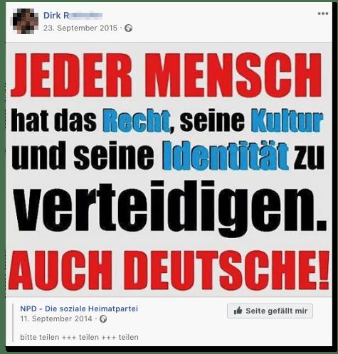 Screenshot eines Posts des Wirts - Jeder Mensch hat das Recht, seine Kultur und seine Identität zu verteidigen. Auch Deutsche!