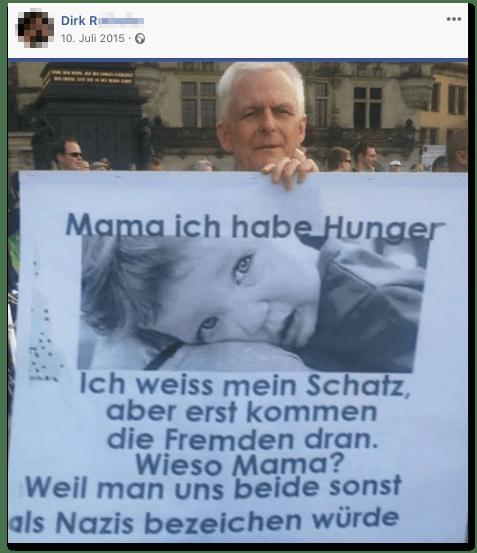 Screenshot eines Posts des Wirts - Mama ich habe Hunger - Ich weiß mein Schatz, aber erst kommen die Fremden dran. - Wieso Mama? - Weil man uns beide sonst als Nazis bezeichnen würde.