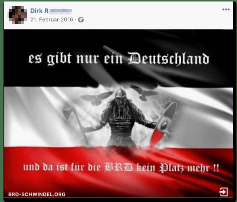 Screenshot eines Posts des Wirts - Es gibt nur ein Deutschland - und da ist für die BRD kein Platz mehr
