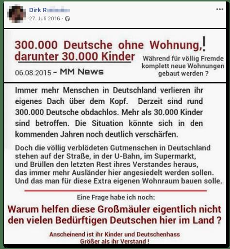 Screenshot eines Posts des Wirts - 300.000 Deutsche ohne Wohnung, darunter 30.000 Kinder! Doch die völlig verblödeten Gutmenschen in Deutschland stehen auf der Straße, in der U-Bahn, im Supermarkt und brüllen den letzten Rest ihres Verstandes heraus, dass immer mehr Ausländer hier angesiedelt werden sollen