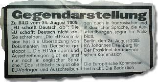 """""""Gegendarstellung (...) Die EU schafft Deutsch nicht ab."""""""