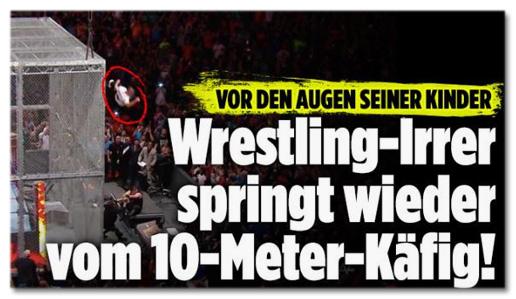 Screenshot Bild.de - Vor den Augen seiner Kinder - Wrestling-Irrer springt wieder vom Zehn-Meter-Käfig