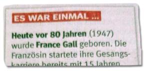 Ausriss WAZ - Heute vor 80 Jahren (1947) wurde France Gall geboren.