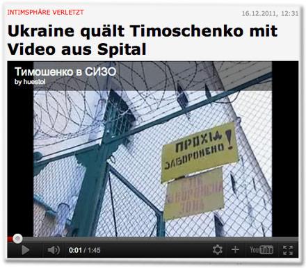 Intimsphäre verletzt: Ukraine quält Timoschenko mit Video aus Spital