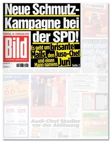 Ausriss Bild-Titelseite - Neue Schmutz-Kampagne bei der SPD - Es geht um brisante Mails, den Juso-Chef und einen Mann namens Juri