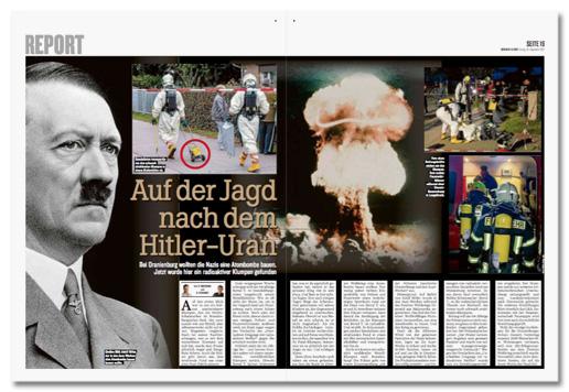 Ausriss Doppelseite des Berliner Kuriers - Überschrift Auf der Jagd nach dem Hitler-Uran