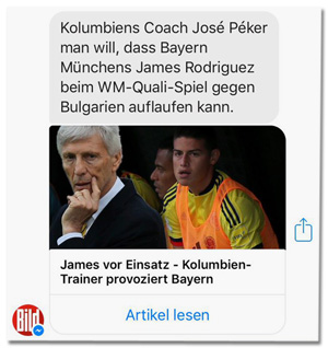 Screenshot Bild-Facebookpost - Kolumbiens Coach José Pékerman will, dass Bayern Münchens James Rodriguez beim WM-Quali-Spiel gegen Bulgarien auflaufen kann.