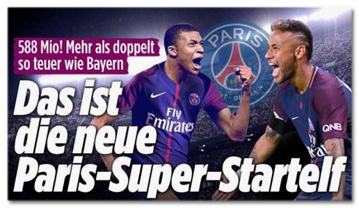 Screenshot Bild.de - 588 Mio! Mehr als doppelt so teuer wie Bayern - Das ist die neue Paris-Super-Startelf