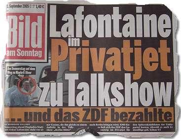 Lafontaine im Privatjet zu Talkshow ...und das ZDF bezahlte
