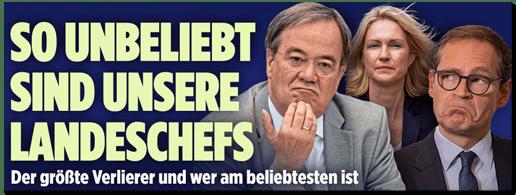 Screenshot Bild.de - So unbeliebt sind unsere Landeschefs - Der größte Verlierer und wer am beliebtesten ist