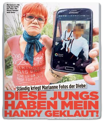 Ausriss Bild-Zeitung - Ständig kriegt Marianne Fotos der Diebe - Diese Jungs haben mein Handy geklaut