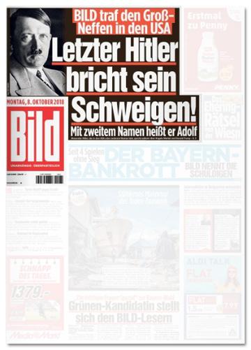 Ausriss Titelseite der Bild-Zeitung - Bild traf den Groß-Neffen in den USA - Letzter Hitler bricht sein Schweigen! Mit zweitem Namen heißt er Adolf