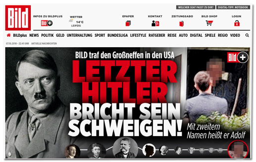 Screenshot Bild.de - Bild traf den Groß-Neffen in den USA - Letzter Hitler bricht sein Schweigen! Mit zweitem Namen heißt er Adolf