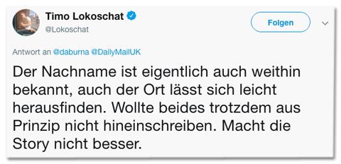Screenshot eines Tweets von Timo Lokoschat - Der Nachname ist eigentlich auch weithin bekannt, auch der Ort lässt sich leicht herausfinden. Wollte beides trotzdem aus Prinzip nicht hineinschreiben. Macht die Story nicht besser.