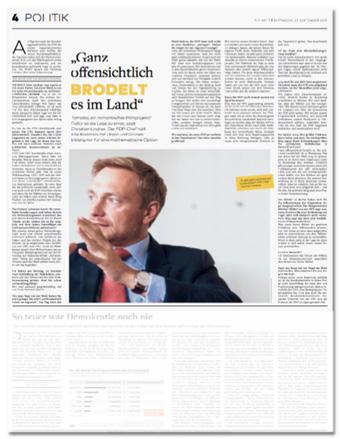 Ausriss der Welt - Interview mit Christian Lindner - Überschrift Ganz offensichtlich brodelt es im Land