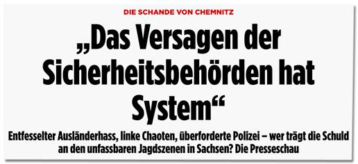 Screenshot Bild.de - Die Schande von Chemnitz - Das Versagen der Sicherheitsbehörden hat System - Entfesselter Ausländerhass, linke Chaoten, überforderte Polizei - wer trägt die Schuld an den unfassbaren Jagdszenen in Sachsen? Die Presseschau