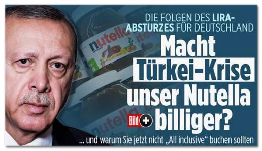 Ausriss Bild.de - Die Folgen des Lira-Absturzes für Deutschland - Macht Türkei-Krise unser Nutella billiger? Und warum Sie jetzt nicht All inclusive buchen sollten