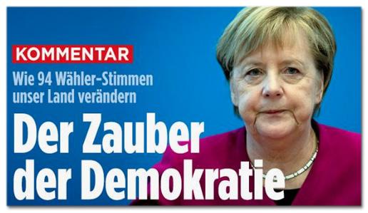 Screenshot Bild.de - Kommentar - Wie 94 Wähler-Stimmen unser Land verändern - Der Zauber der Demokratie
