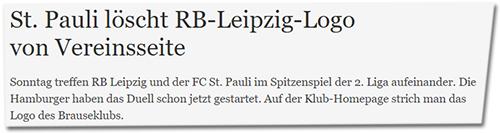 St. Pauli löscht RB-Leipzig-Logo von Vereinsliste - Sonntag treffen RB Leipzig und der FC St. Pauli im Spitzenspiel der 2. Liga aufeinander. Die Hamburger haben das Duell schon jetzt gestartet. Auf der Klub-Homepage strich man das Logo des Brauseklubs.