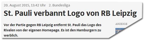 St. Pauli verbannt Logo von RB Leipzig - Vor der Partie gegen RB Leipzig entfernt St. Pauli das Logo des Rivalen von der eigenen Homepage. Es ist den Hamburgern zu werblich.