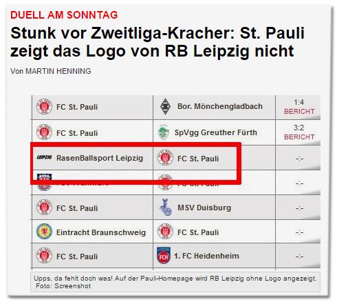 Duell am Sonntag - Stunk vor Zweitliga-Kracher: St. Pauli zeigt das Logo von RB Leipzig nicht