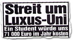 """""""Streit um Luxus-Uni: Ein Student würde uns 71 000 Euro im Jahr kosten"""""""