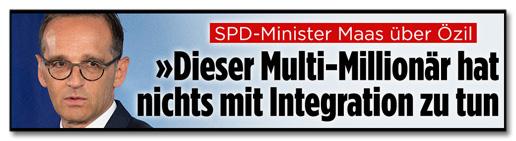 Screenshot Bild.de - SPD-Minister Maas über Özil - Dieser Multi-Millionär hat nichts mit Integration zu tun
