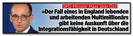 Screenshot Bild.de - SPD-Minister Maas über Özil - Der Fall eines in England lebenden und arbeitenden Multimillionärs gibt keine Auskunft über die Integrationsfähigkeit in Deutschland