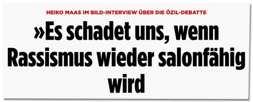 Screenshot Bild.de - Heiko Maas im Bild-Interview über die Özil-Debatte - Es schadet uns, wenn Rassismus wieder salonfähig wird