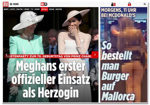 Screenshot der Bild.de-Startseite mit dem Artikel zur falschen betrunkenen Britin weit oben auf der Seite