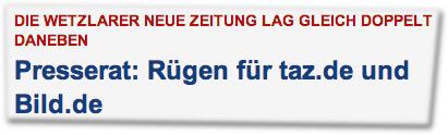 Presserat: Rügen für taz.de und Bild.de