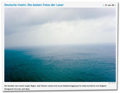 Die Nordsee nach einem langen Regen: Axel Völcker nutzte eine kurze Niederschlagspause für diese Aufnahme vom Rügener Königsstuhl hinunter aufs Meer.