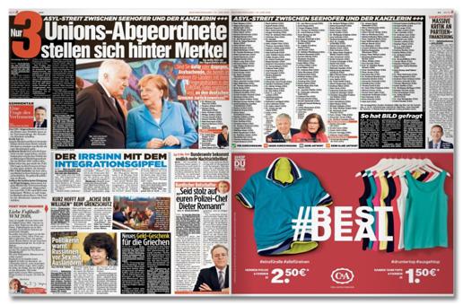 Ausriss Bild-Zeitung - Übersicht der Doppelseite mit dem Artikel zur Bild-Anfrage